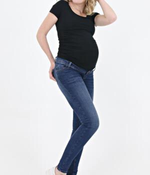 Těhotenské džíny modré/rifle/streč/skinny