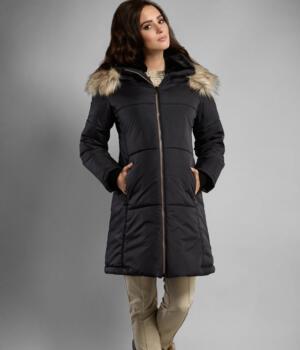 Těhotenská bunda černá s kožíškem
