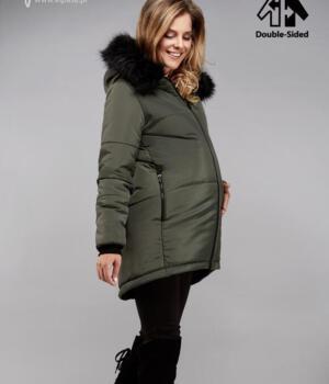 Těhotenská bunda olivová s kožíškem oboustranná