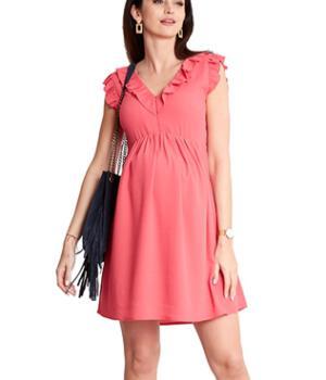 Těhotenské a kojící šaty korálové s volánky